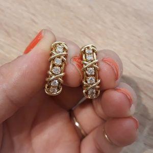 Jewelry - 18k 18kt gold & diamond earrings